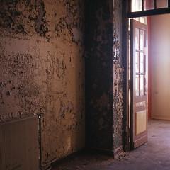 (ChrisAdSim) Tags: old house abandoned film analog fuji slide iso 400 fujifilm asylum provia dias deserted mental institution 400x vision:sunset=0576 vision:sky=0558 vision:outdoor=0851