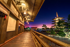 The Heights of Teppan Edo (TheTimeTheSpace) Tags: japan night stars pagoda epcot nikon disney disneyworld waltdisneyworld hdr d800 spaceshipearth toriigate worldshowcase teppanedo