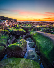 Standing Water (Justin in SD) Tags: sunset green pool rock canon coast moss rocks dusk lajolla coastal shore canon5d lowtide tidepool hdr rockybeach 32bit lajollashore canon5dmarkiii 5d3 5dmark3 32bithdr