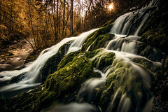 Cascade du Pissieux dans le massif des Bauges (Yoann Lambert   http://www.yoannlambertphoto.fr) Tags: trees sunset sun annecy water rock forest canon river landscape soleil waterfall eau long exposure postcard atmosphere rivire tokina arbres filter 400 nd flare ambient lambert chambry paysage