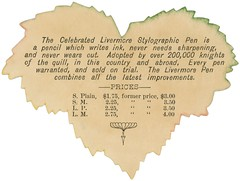 The Celebrated Livermore Pen Stylographic Pen (Alan Mays) Tags: old red green leaves yellow boston writing handwriting pencils vintage ads paper advertising ma typography leaf rainbow antique massachusetts stickers 19thcentury victorian illustrations ephemera knights writers type pens mass livermore advertisements fonts printed inks companies typefaces manufacturers celebrated nineteenthcentury stylographic washingtonstreet quills washes tradecards diecuts livermorepen stylographicpenco knightsofthequill