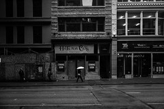 rainhat (whlteXbread) Tags: street travel summer blackandwhite bw rain vancouver umbrella spring afternoon bc summicron gastown m9 35mmf2 2013 whatimseeing hatsforcats