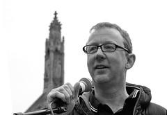 Solicitor Dave Rowntree (Blur) - Fight for Legal Aid, Westminster, London, 7 March 2014 (chrisjohnbeckett) Tags: street portrait blackandwhite bw music blur london westminster rock march justice politics rally protest parliament demonstration speaker drummer law injustice lawyer whitehall cuts dayofaction londonist solicitor daverowntree canonef24105mmf4lisusm legalaid chrisbeckett