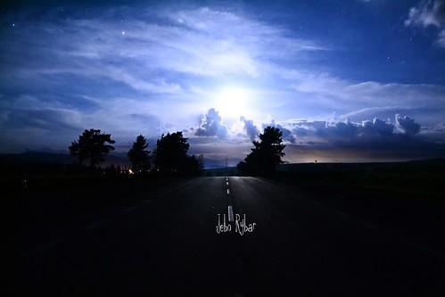 On The Road Night Lights The Moon EyeEm Best Shots - Night Photography at Važec