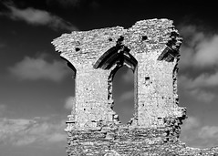 dorset-9-100514 (Snowpetrel Photography) Tags: windows sky blackandwhite heritage castles monochrome stone clouds spring ruins stonework towers dorset monuments nationaltrust normanarchitecture smcpda40mmf28 pentaxk01
