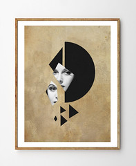 Fixation (StellaireStudio) Tags: moon abstract black art girl collage illustration triangles vintage painting photography photo eyes beige women geometry mixedmedia shapes wallart minimalism minimalist homedecor papercut walldecor papercollage vintagepaper stellaire