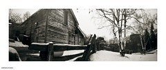 Down at the Riverdale farm (DelioTO) Tags: city winter snow toronto ontario canada landscape blackwhite woods trails pinhole february curved tmax100 tmaxdev 6x17 autaut f267