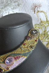 Flame of Creation_2 (~Gilven~) Tags: flowers forest gold necklace embroidery jewelry medieval swarovski quartz garnet swarovskicrystals japanesebeads foggyforest naturalleather