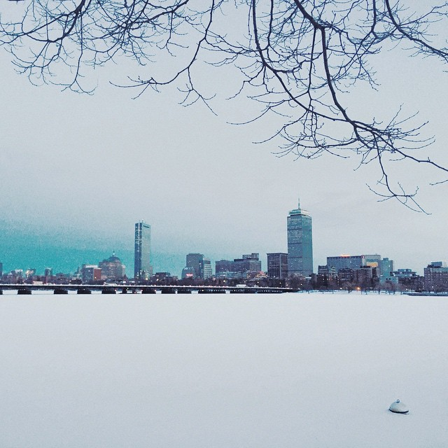 Hold fast to dreams For when dreams go Life is a barren field Frozen with snow.  LANGSTON HUGHES   #boston #snow #cold #river #VSCOcam