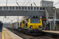 Freight liner class 70 no 70016 with Class 66/5 no 66502 at Newark Northgate on 14-02-2015 With a Felixstowe to Leeds Intermodal (kevaruka) Tags: uk greatbritain winter england cloud cold color colour colors train canon town flickr colours dof cloudy unitedkingdom rail railway trains steam telephoto trainstation 5d newark february frontpage dull britishrail steamengine nottinghamshire valentinesday steamtrain fugly eastcoastmainline cloudyday freightliner 2015 drearyday ecml networkrail 70016 newarknorthgate class70 railnetwork canon5dmk3 5dmk3 5d3 5diii thephotographyblog canon70200f28ismk2 canoneos5dmk3 ilobsterit