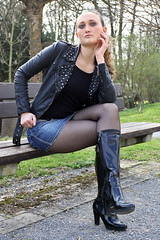 Selina 29 (The Booted Cat) Tags: woman sexy girl leather high model highheels legs boots tights jeans jacket heels miniskirt nylon demin