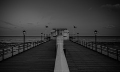 Worthing Pier (Dave Sexton) Tags: worthing england unitedkingdom gb west sussex uk twighlight lights vanishingpoint wideangleblackandwhite monochrome pentax k1 2470 f28