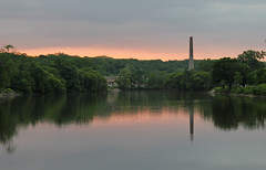 Evening from the Fox (Mark Herrera) Tags: sunset reflections illinois spring cloudy smokestack rivers foxriver waterreflections eastdundee illinoisrivers