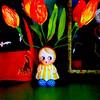 Pocket Full of Posies (luvehorror) Tags: flowers 1930s tulips may floralarrangement paperflowers aprilshowersbringmayflowers mayflowers springtimedecor antiqueflowervase bisquechinavase 1930schloepreston 1930sflowergirl vintagefloraldecor chloeprestoncharacter 1930svintagedecor
