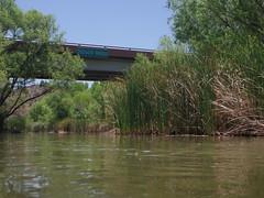 Tuzigoot Bridge sign seen from river (EllenJo) Tags: arizona river pentax tube raft verderiver riparian sundayafternoon june5 clarkdale 2016 ellenjo summerinarizona ellenjoroberts tuzigootbridge tuzirap pentaxqs1 cruisingdowntheriveronasundayafternoon