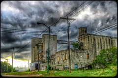 Bygone days... (Sherrianne100) Tags: storm stormy missouri silos deserted dilapidated grainsilo springfieldmo