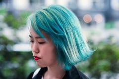 Blue Haired Girl (Jon Siegel) Tags: portrait woman cute girl japan japanese tokyo cool nikon pretty afternoon 14 85mm harajuku nikkor stylish harajukugirl 85mmf14 d810
