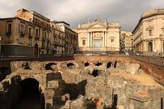 Roman Amphitheatre (Derbyshire Harrier) Tags: city spring roman arches sicily catania swifts romanruins romanamphitheatre 2016 anfiteatroromano 2ndcenturybc