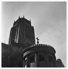 Anglican Cathedral tower - Certo Phot camera (Towner Images) Tags: park blackandwhite bw 120 film monochrome cemetery liverpool lomo lomography monotone monochromatic vintagecamera analogue quarry stjames lomographic towner certophot