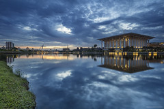 partly cloudy (gilbertchuachian_siong) Tags: world park morning travel lake reflection tourism water landscape sony muslim prayer mosque malaysia destination bluehour putrajaya interest masjid samyang a6000 ayer8