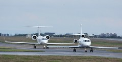 N454AJ and N200LC ,Glasgow Prestwick 25/6/16 (BS Images.) Tags: airport aircraft falcon trump prestwick pik gulfstream ayrshire dassault bizjet prestwickairport southayrshire egpk glasgowprestwick n200lc n454aj