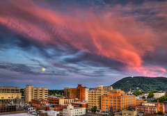 Full Moon and Mill Mountain Summer Eve (Terry Aldhizer) Tags: city eve blue sunset summer sky moon mountain mountains mill june clouds buildings star twilight full ridge solstice roanoke terry aldhizer wwwterryaldhizercom