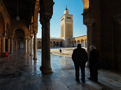 Nostalgia (Mahmoud Abuabdou) Tags: old city travel blue heritage lines architecture contrast religious golden twilight shadows tunisia minaret muslim islam tunis prayer religion pray mosque diagonal explore hour frame framing submission allah muslem moslim moslem zaytuna azzaytuna alzaytuna