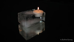 85/366 Fire & Ice (andrew.varney) Tags: reflection ice fire mirror nikon candle 365 366 d5100