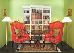 The Library is Furnished (MurderWithMirrors) Tags: lamp table chair handmade library books 16 mwm miniaturebooks