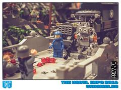 Helping the Allies (Priovit70) Tags: lego minifigures classicspace war wwii allies bridge liberation gun benny mrrobot modelexpo2016 diorama olympuspenepl7