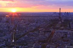 Paris at Sunset from Montparnasse Tower (tomosang R32m) Tags: sunset panorama paris france tower night observation view eiffel deck toureiffel  nightview montparnasse   terrase yakei