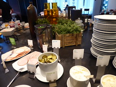 One of the serving tables (seikinsou) Tags: summer food breakfast table restaurant hotel midsummer sweden plate diningroom meal gherkin herb charcuterie umea scandic