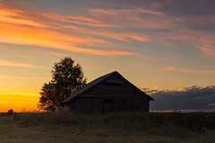 Sunset By The Fields (k009034) Tags: 500px wooden copy space finland matkaniva oulainen tranquil scene agriculture architecture barn birch building clouds countryside evening fields nature night no people old rural silhouette sky summer sunset tree teamcanon copyspace tranquilscene nopeople