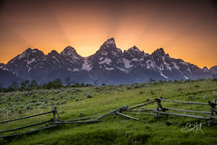 Broken Fence (Travis Klingler (SivArt)) Tags: sunset mountain wyoming grandteton danballard