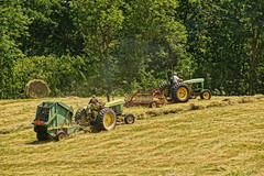 Faded, Strong, and Tireless (thetrick113) Tags: tractor green paint farm rake faded tired hay agriculture bale hdr hudsonrivervalley johndeere baler farmequipment 3020 hudsonvalley farmmachinery 410 2030 johndeeretractor hayrake roundbale farmimplement grasshay roundbaler johndeere2030 columbiacountynewyork newyorkagriculture johndeere3020 sonyslta65v newyorkstateagriculture elizavillenewyork johndeere410baler newhollandrake