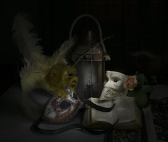 Private life of still objects (Florencetale) Tags: carnival venice stilllife love rose night book mask antique philosophy knowledge ribbon lantern admiration naturmort