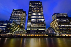 Canary Wharf, London, UK (davidgutierrez.co.uk) Tags: london city photography art architecture davidgutierrezphotography nikond810 nikon night urban color londonphotographer travel photographer uk bridge blue canarywharf twilight bluehour canal buildings windows england unitedkingdom colors colours colour  londyn    londres londra europe beautiful cityscape davidgutierrez capital structure britain greatbritain ultrawideangle afsnikkor1424mmf28ged 1424mm d810 towerhamlets eastlondon onecanadasquare skyscraper financialcentres offices longexposure le
