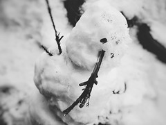 Snowman (Jon-F, themachine) Tags: winter blackandwhite bw snow monochrome japan asian snowman asia olympus monochromatic  nippon japo grayscale oriental orient fareast takayama  gifu   bnw nihon omd  japn hidatakayama 2016    nocolor m43  mft  gifuken    mirrorless   micro43 microfourthirds  ft xapn jonfu  mirrorlesscamera snapseed   em5ii em5markii