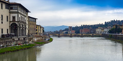 Vista dal Arno (DCullenV) Tags: street city travel bridge blue sky urban italy mountain david color building green tower nature water beauty grass museum clouds digital buildings river skyscape landscape geotagged photography photo florence spring nikon italia cityscape exterior view destruction wwii streetphotography musei ponte tuscany vista handheld firenze walls museo uffizi dslr toscana riverbank renaissance vidal riverview reconstructed cullen rinascimento d600 riverscape decv