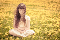 Field of Dandelions color (Kilkennycat) Tags: flowers portrait girl canon hair children happy spring child windy dandy dandelions 500d kilkennycat t1i ryanconners 100mm28l