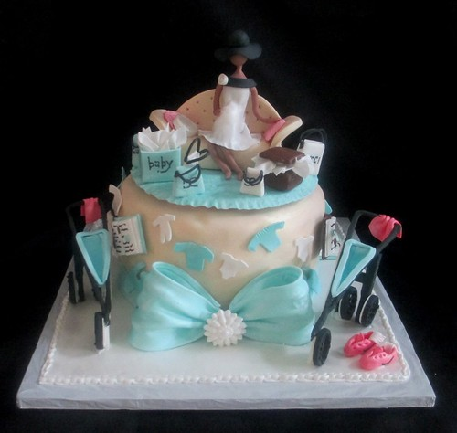 Baby Shower Fashionista Pregnant Figure Books Stroller Cake Main