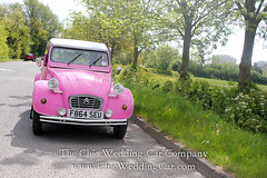 Rosie in the country-14 (magicalnights) Tags: pink wedding car derbyshire 2cv chic weddingcar shabbychicwedding sexyweddingcar 2cvweddingcar