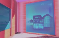 trespassing space (___rei) Tags: pink blue sunlight house window colors weird 3d aqua shadows view pov pastel empty room exploring cyan salmon sl faded secondlife virtual pastels fade filters viewpoint edit nocontrast