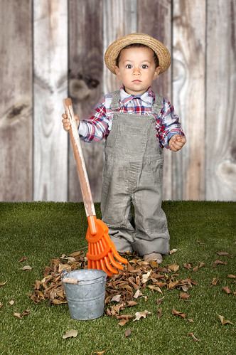 little baby boy gardener