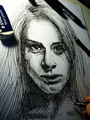 20130525 (lindenb) Tags: portrait bw art face illustration pen paper sketch hand drawing retrato femme eraser main gimp dessin sheet papier fille visage hatching gomme stylo feutre hachures onedrawingaday