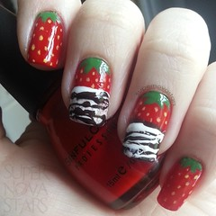 Strawberries (supernovastars) Tags: art strawberry chocolate nail strawberries mani nails manicure chocolatedipped nailart