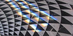 adding color to the marble triangles (JSDesign) Tags: blackandwhite bw white black color window glass triangles tampa tile grey rainbow triangle pattern floor prism refraction fl marble curve curved tessellation circular repeated tessellate oxfordexchange