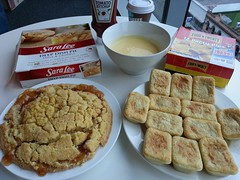 Morning tea - Sara Lee Apple and Crumble Deep Dish Pie, Dairy Farmers Thick Custard, Four'N'Twenty Party Pies, Heinz Tomato Ketchup - Woolworths QV (avlxyz) Tags: apple work tomato office ketchup fb custard heinz meatpie saralee applecrumble morningtea tomatoketchup heinztomatoketchup fourntwenty partypies dairyfarmers deepdishpie crumbletopping saraleehipie dairyfarmersthickcustard fourntwentypartypies