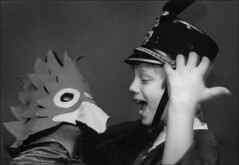 The Owl and the General (dannysoar) Tags: costumes bw kids theater general theatre trix owl greeting childeren shoeboxpix spotmaticspotmatic probablyapentaxspotmatic scanofafilmprint