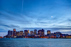 Downtown Boston just after sunset, from LoPresti park